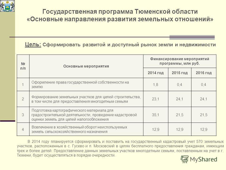 Государственная программа Тюменской области «Основные направления развития земельных отношений» Цель: Сформировать развитой и доступный рынок земли и недвижимости В 2014 году планируется сформировать и поставить на государственный кадастровый учет 57