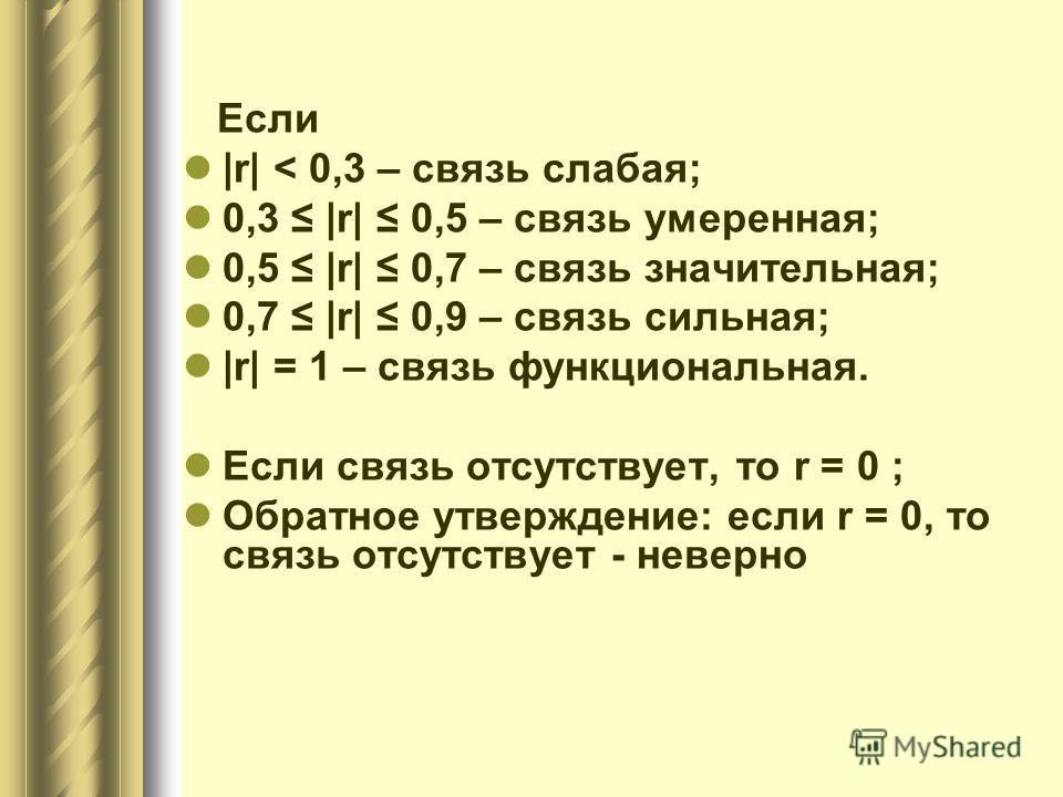 Если |r| < 0,3 – связь слабая; 0,3 |r| 0,5 – связь умеренная; 0,5 |r| 0,7 – связь значительная; 0,7 |r| 0,9 – связь сильная; |r| = 1 – связь функциональная. Если связь отсутствует, то r = 0 ; Обратное утверждение: если r = 0, то связь отсутствует - н