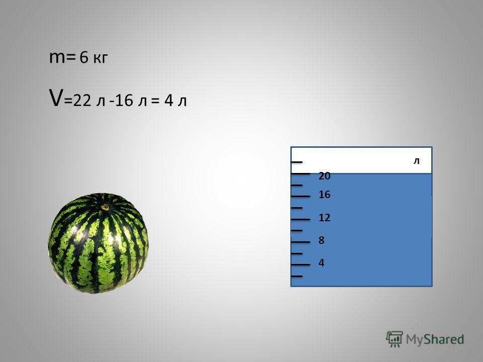 m= 6 кг 4 8 12 16 20 V =22 л -16 л = 4 л л