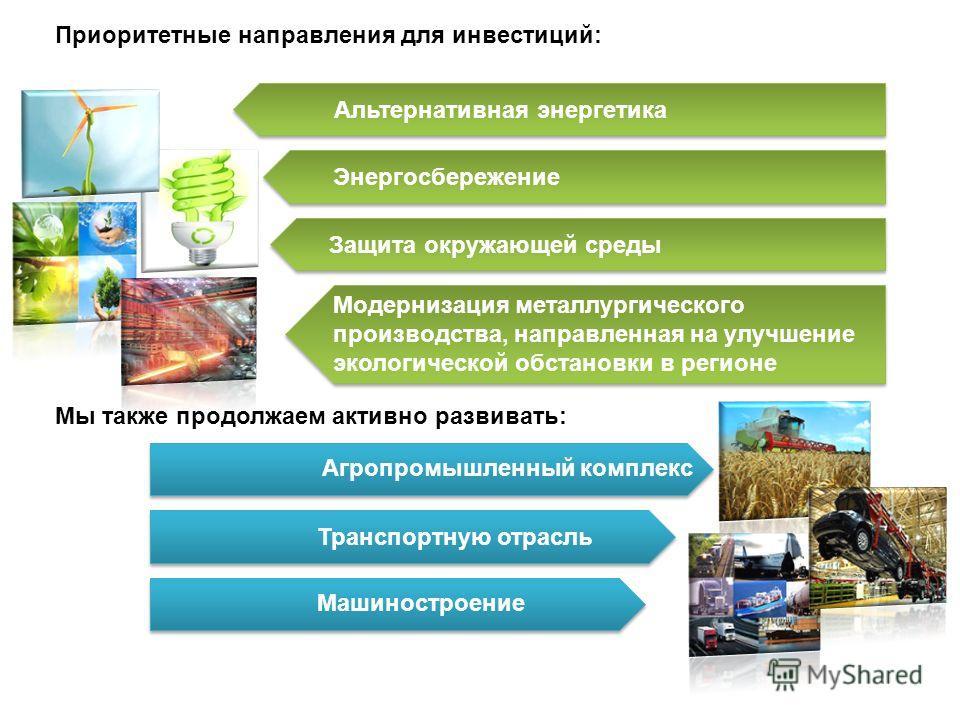 Приоритетные направления для инвестиций: Альтернативная энергетика Энергосбережение Защита окружающей среды Модернизация металлургического производства, направленная на улучшение экологической обстановки в регионе Мы также продолжаем активно развиват