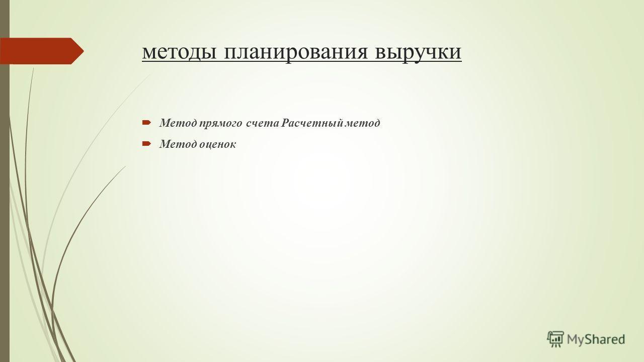 методы планирования выручки Метод прямого счета Расчетный метод Метод оценок