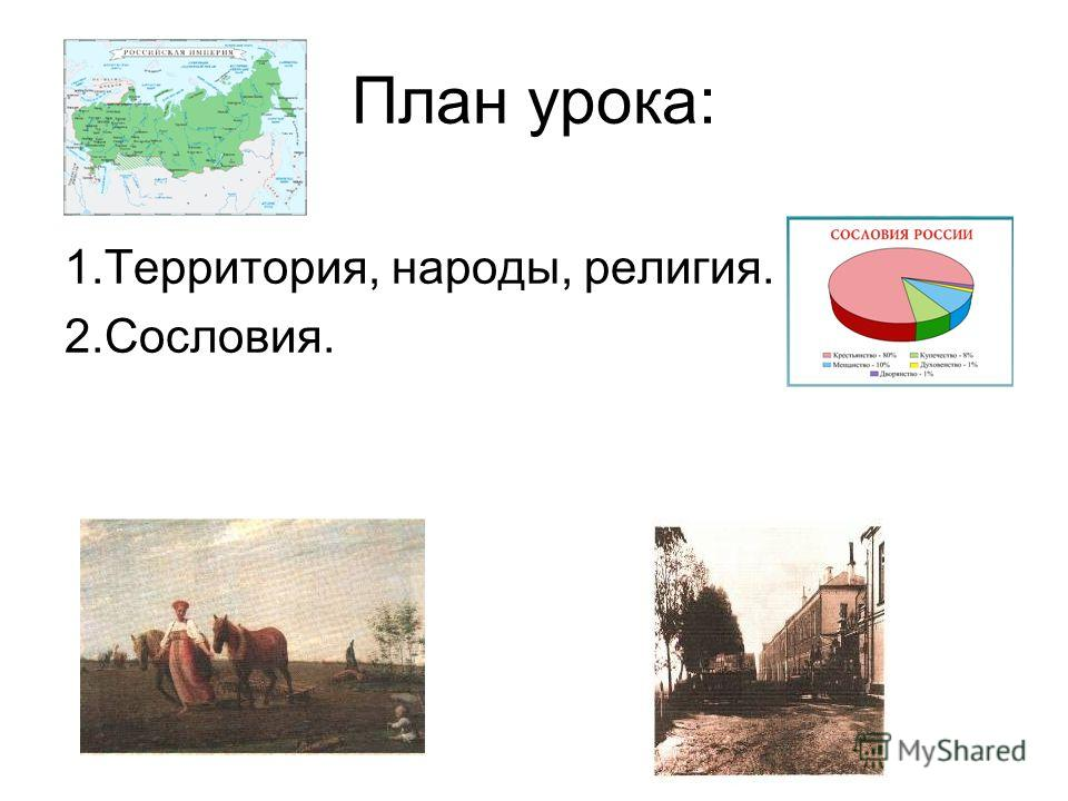 План урока: 1.Территория, народы, религия. 2.Сословия.