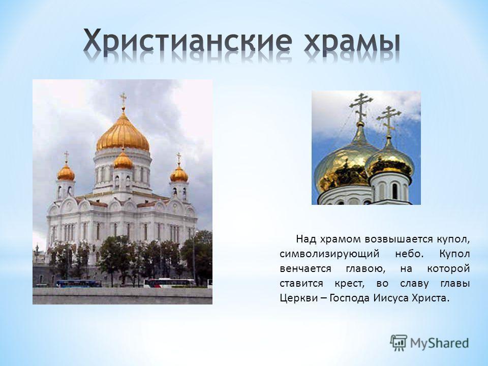 Над храмом возвышается купол, символизирующий небо. Купол венчается главою, на которой ставится крест, во славу главы Церкви – Господа Иисуса Христа.