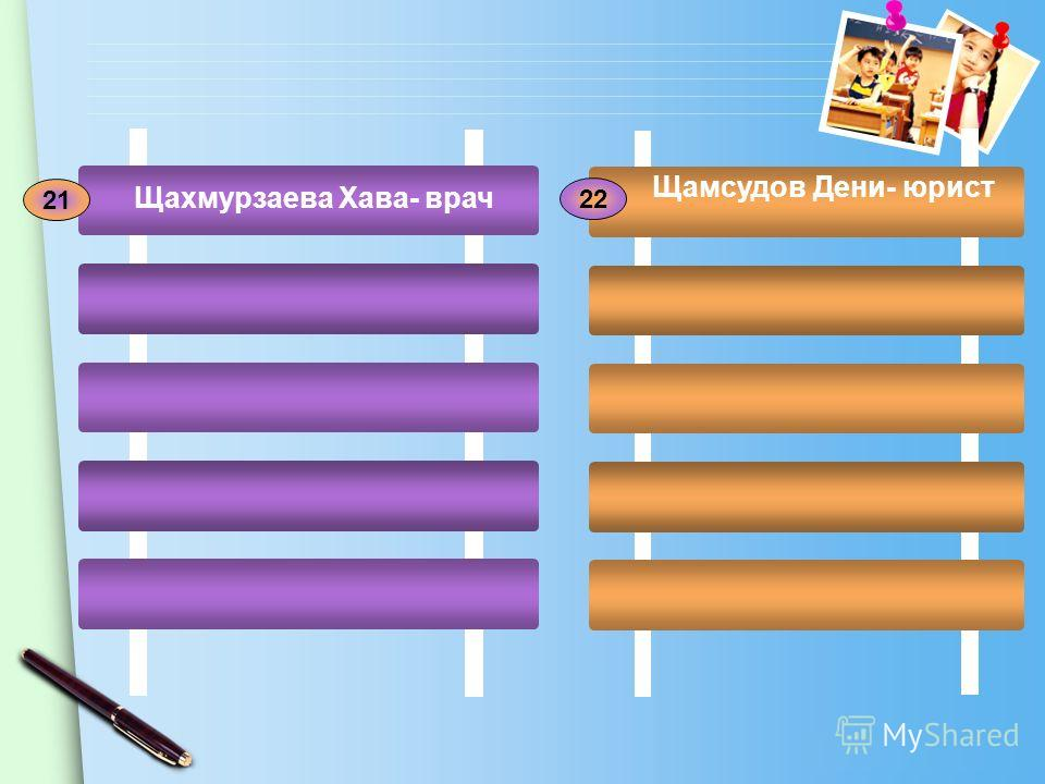 www.themegallery.com 21 22 Щахмурзаева Хава- врач Щамсудов Дени- юрист