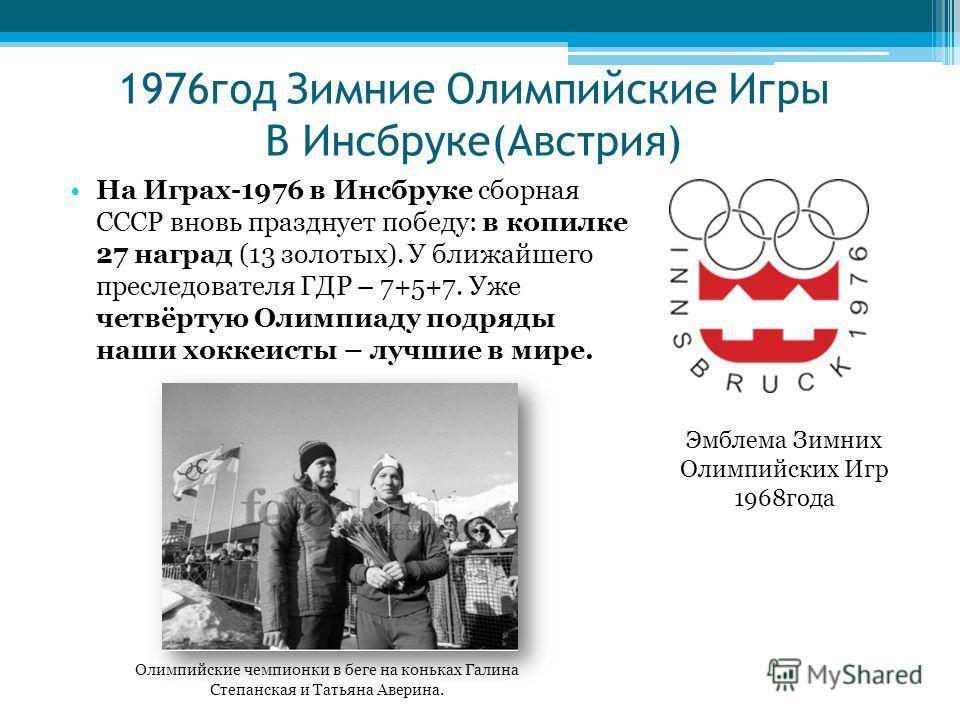 1976год Зимние Олимпийские Игры В Инсбруке(Австрия) На Играх-1976 в Инсбруке сборная СССР вновь празднует победу: в копилке 27 наград (13 золотых). У ближайшего преследователя ГДР – 7+5+7. Уже четвёртую Олимпиаду подряды наши хоккеисты – лучшие в мир