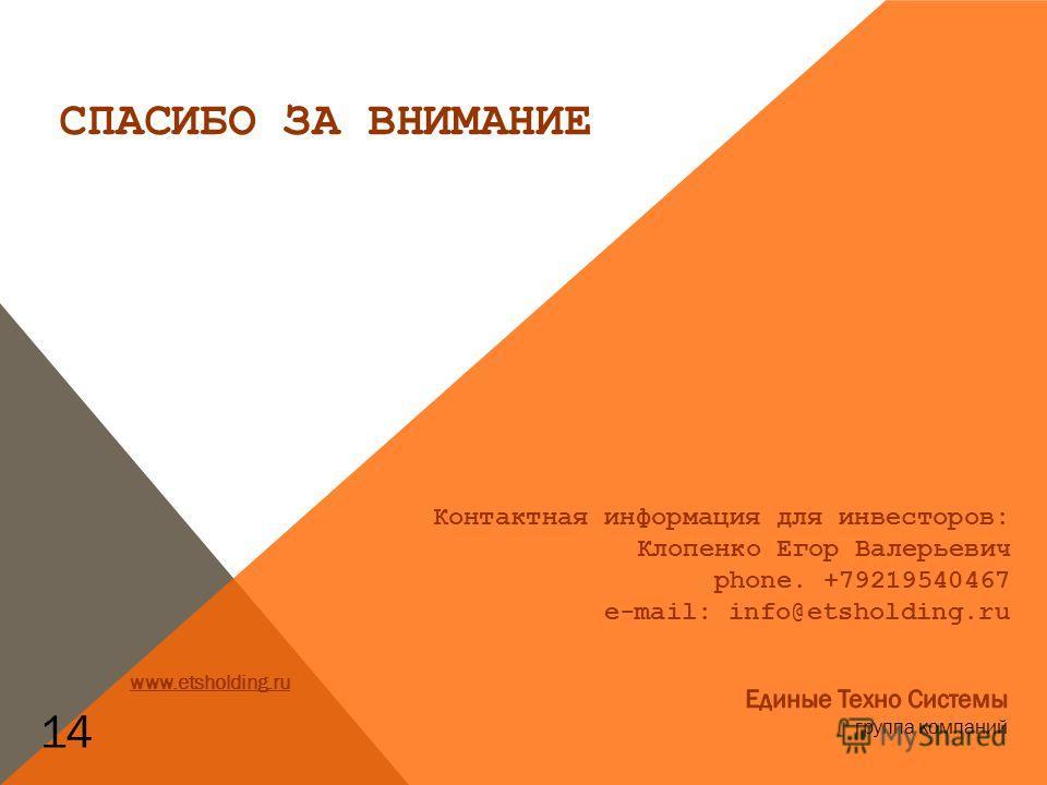 Контактная информация для инвесторов: Клопенко Егор Валерьевич phone. +79219540467 e-mail: info@etsholding.ru 14 www.etsholding.ru СПАСИБО ЗА ВНИМАНИЕ