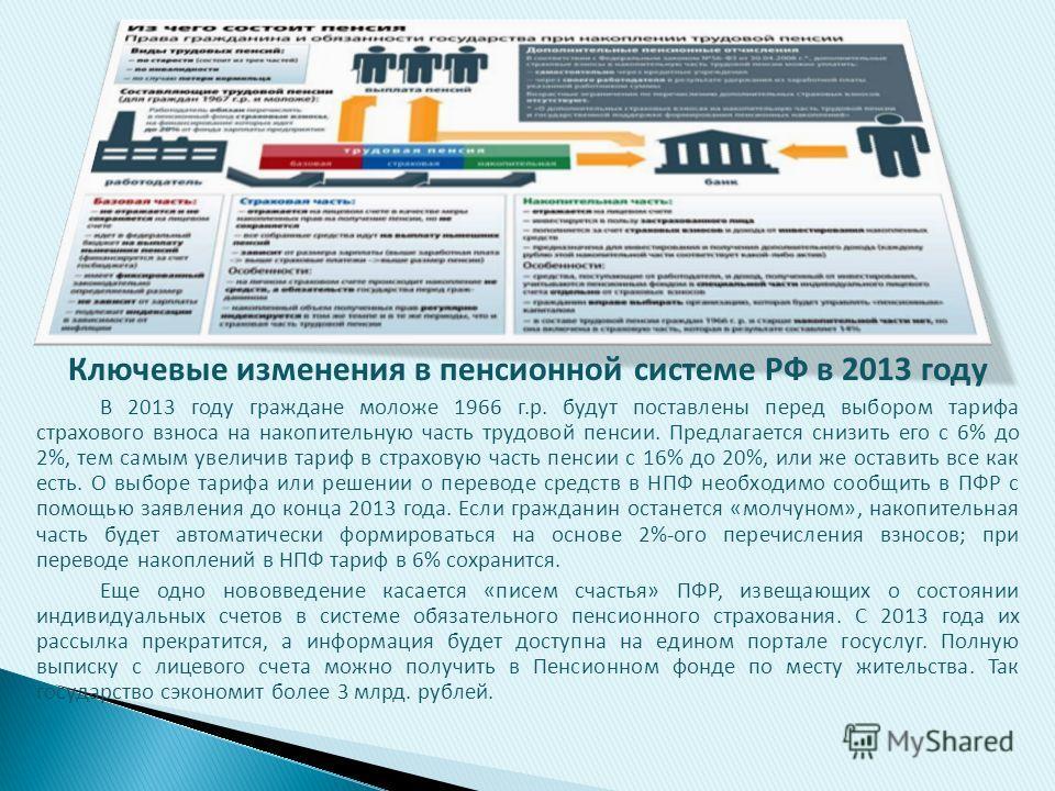 Ключевые изменения в пенсионной системе РФ в 2013 году В 2013 году граждане моложе 1966 г.р. будут поставлены перед выбором тарифа страхового взноса на накопительную часть трудовой пенсии. Предлагается снизить его с 6% до 2%, тем самым увеличив тариф