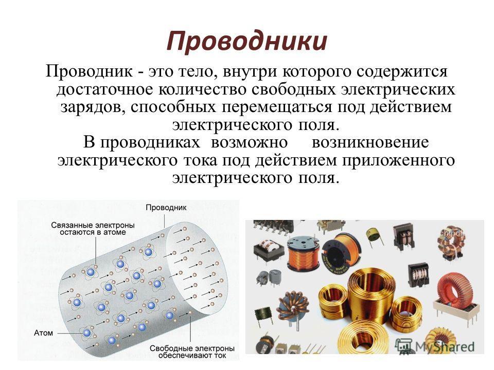 Проводники Проводник - это тело, внутри которого содержится достаточное количество свободных электрических зарядов, способных перемещаться под действием электрического поля. В проводниках возможно возникновение электрического тока под действием прило