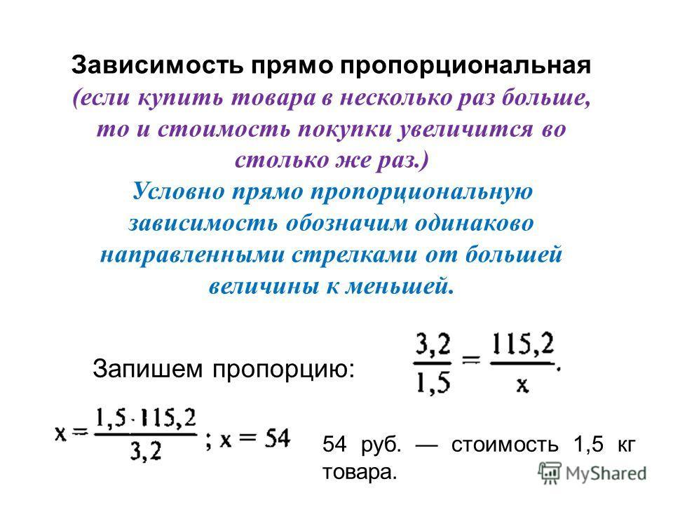 Учебник, стр. 128. 1) Ещё раз читаем условие задачи 1 2) Запишем кратко условие задачи в виде таблицы Количество товара Стоимость товара Iпокупка II покупка 3,2 кг 1,5 кг 115,2 руб. х руб. Определите, какая зависимость между количеством товара и стои