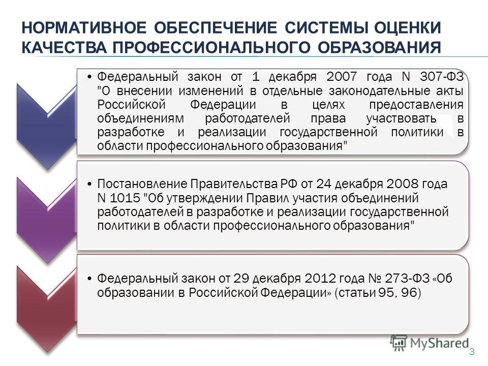 НОРМАТИВНОЕ ОБЕСПЕЧЕНИЕ СИСТЕМЫ ОЦЕНКИ КАЧЕСТВА ПРОФЕССИОНАЛЬНОГО ОБРАЗОВАНИЯ 3 Федеральный закон от 1 декабря 2007 года N 307-ФЗ