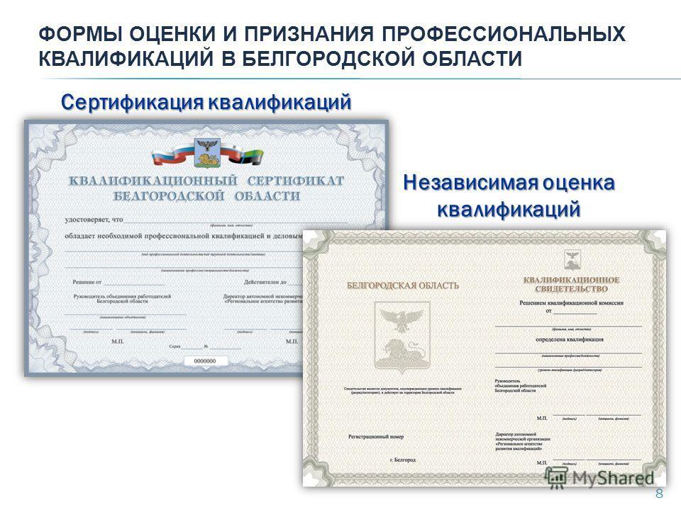 ФОРМЫ ОЦЕНКИ И ПРИЗНАНИЯ ПРОФЕССИОНАЛЬНЫХ КВАЛИФИКАЦИЙ В БЕЛГОРОДСКОЙ ОБЛАСТИ Сертификация квалификаций 8 Независимая оценка квалификаций