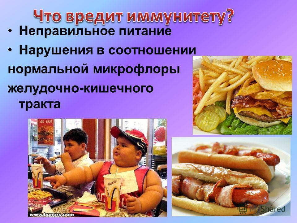 Неправильное питание Нарушения в соотношении нормальной микрофлоры желудочно-кишечного тракта