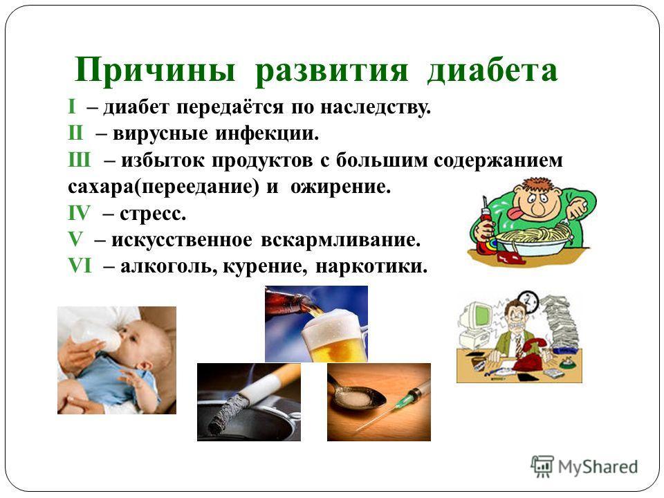 Причины развития диабета I – диабет передаётся по наследству. II – вирусные инфекции. III – избыток продуктов с большим содержанием сахара(переедание) и ожирение. IV – стресс. V – искусственное вскармливание. VI – алкоголь, курение, наркотики.