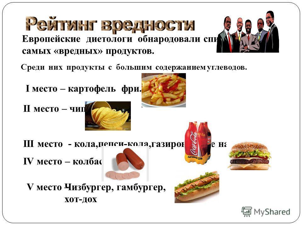 Европейские диетологи обнародовали список самых «вредных» продуктов. Среди них продукты с большим содержанием углеводов. I место – картофель фри. II место – чипсы. III место - кола,пепси-кола,газированные напитки. IV место – колбасы V место –Чизбурге