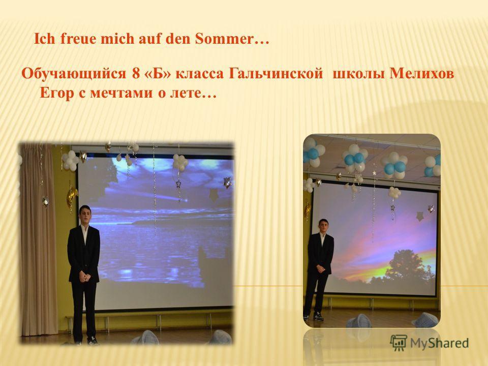 Обучающийся 8 «Б» класса Гальчинской школы Мелихов Егор с мечтами о лете… Ich freue mich auf den Sommer…