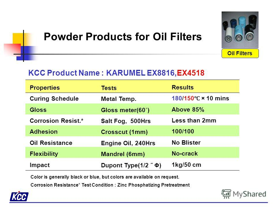 KCC Product Name : KARUMEL EX8700, EX8700 ( Low temperature curing) Properties Curing Schedule Gloss Corrosion Resist.* Adhesion Hardness Flexibility Impact Results 180 × 10 mins / 150 × 10 mins Above 85% Less than 2mm 100/100 HB ~ 2H No-crack 1kg/50