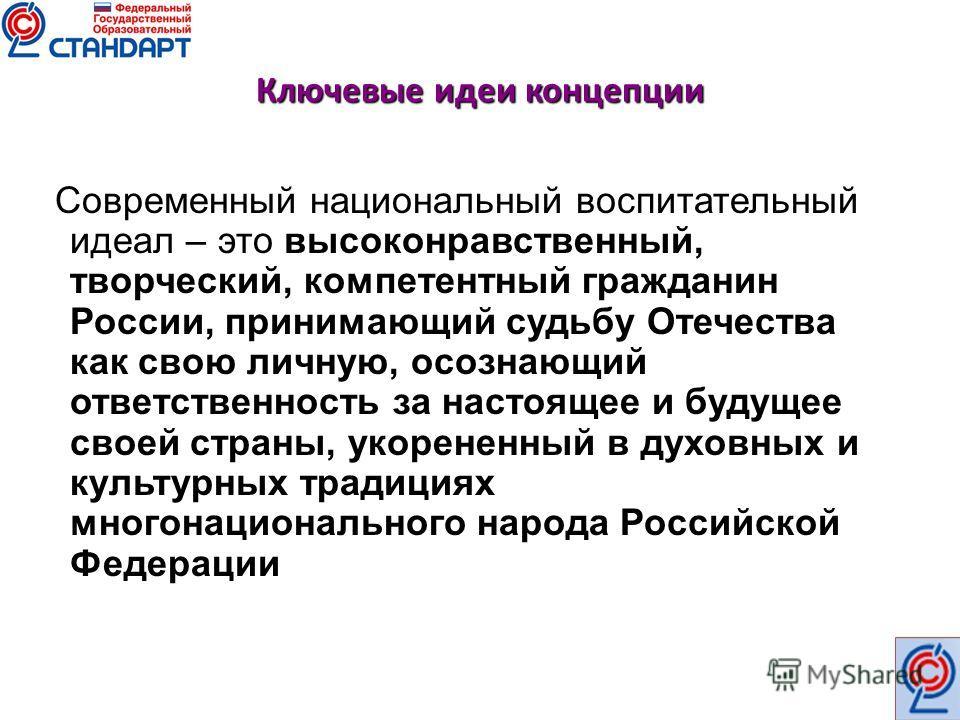 Ключевые идеи концепции Современный национальный воспитательный идеал – это высоконравственный, творческий, компетентный гражданин России, принимающий судьбу Отечества как свою личную, осознающий ответственность за настоящее и будущее своей страны, у