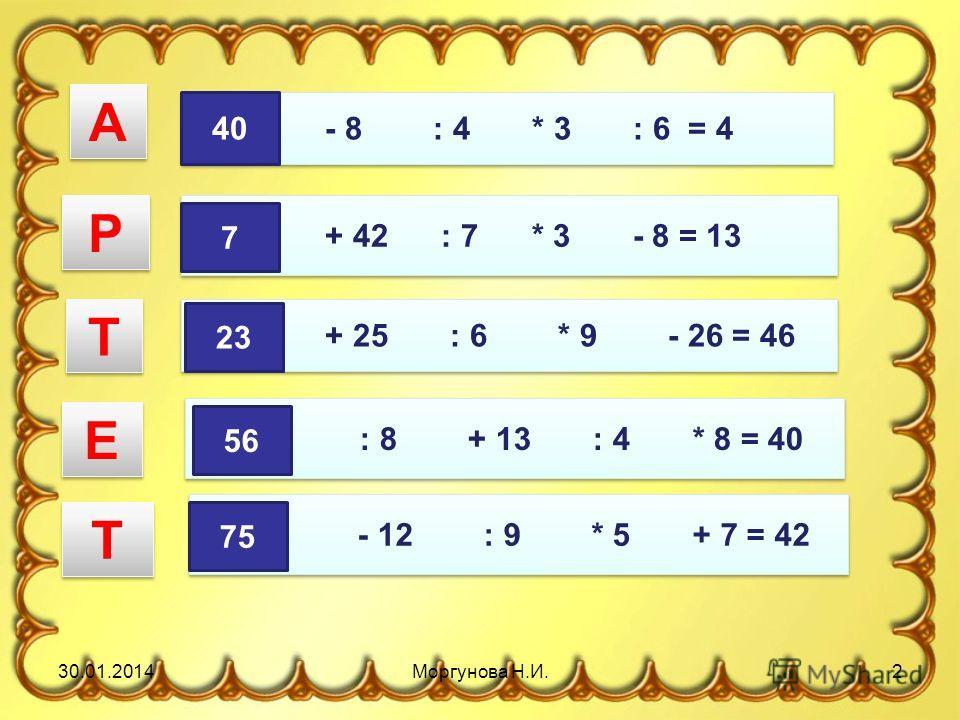 ? + 42 : 7 * 3 - 8 = 13 ? - 8 : 4 * 3 : 6 = 4 ? : 8 + 13 : 4 * 8 = 40 ? - 12 : 9 * 5 + 7 = 42 ? + 25 : 6 * 9 - 26 = 46 40 А А 7 Р Р 23 Т Т 56 Е Е 75 Т Т 30.01.20142Моргунова Н.И.