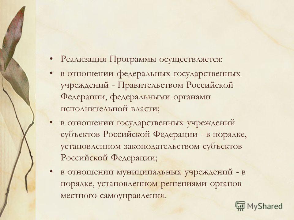 Реализация Программы осуществляется: в отношении федеральных государственных учреждений - Правительством Российской Федерации, федеральными органами исполнительной власти; в отношении государственных учреждений субъектов Российской Федерации - в поря