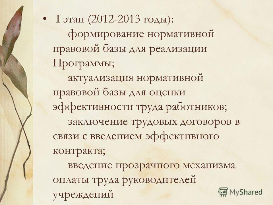 I этап (2012-2013 годы): формирование нормативной правовой базы для реализации Программы; актуализация нормативной правовой базы для оценки эффективности труда работников; заключение трудовых договоров в связи с введением эффективного контракта; введ