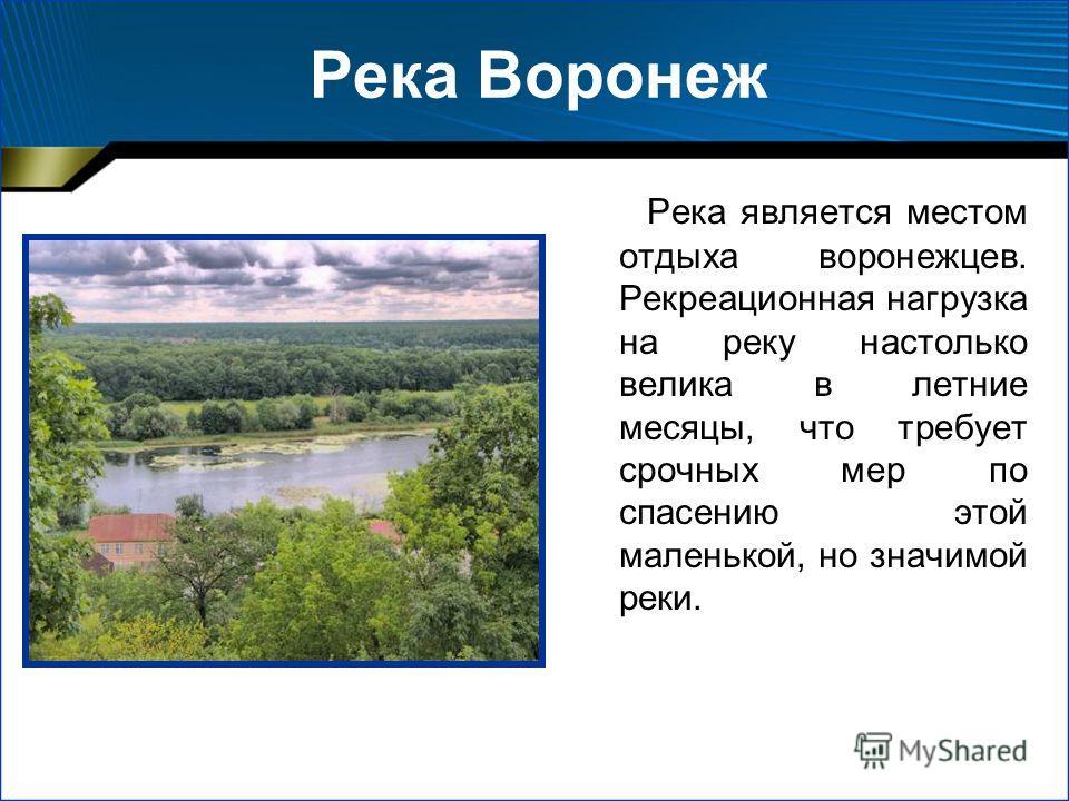 Река Воронеж Река является местом отдыха воронежцев. Рекреационная нагрузка на реку настолько велика в летние месяцы, что требует срочных мер по спасению этой маленькой, но значимой реки.