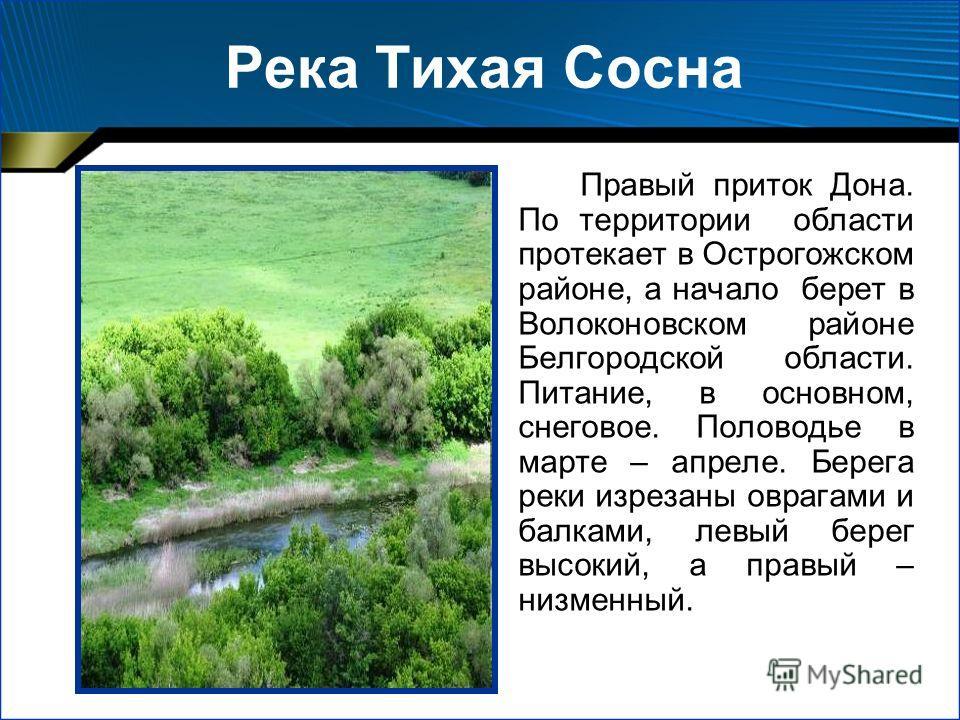 Правый приток Дона. По территории области протекает в Острогожском районе, а начало берет в Волоконовском районе Белгородской области. Питание, в основном, снеговое. Половодье в марте – апреле. Берега реки изрезаны оврагами и балками, левый берег выс