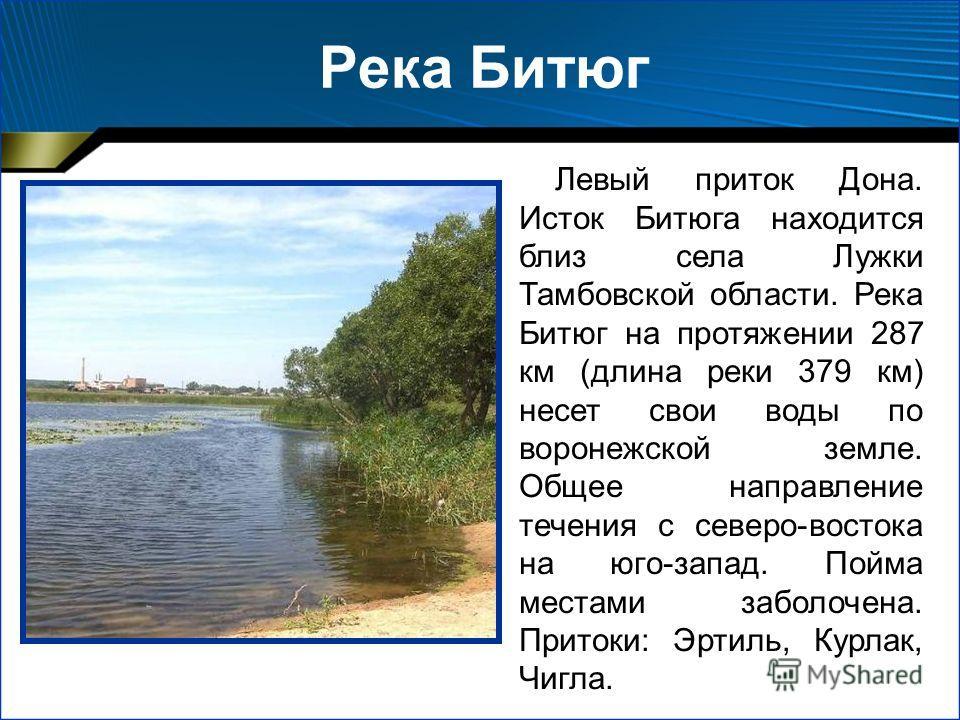 Река Битюг Левый приток Дона. Исток Битюга находится близ села Лужки Тамбовской области. Река Битюг на протяжении 287 км (длина реки 379 км) несет свои воды по воронежской земле. Общее направление течения с северо-востока на юго-запад. Пойма местами