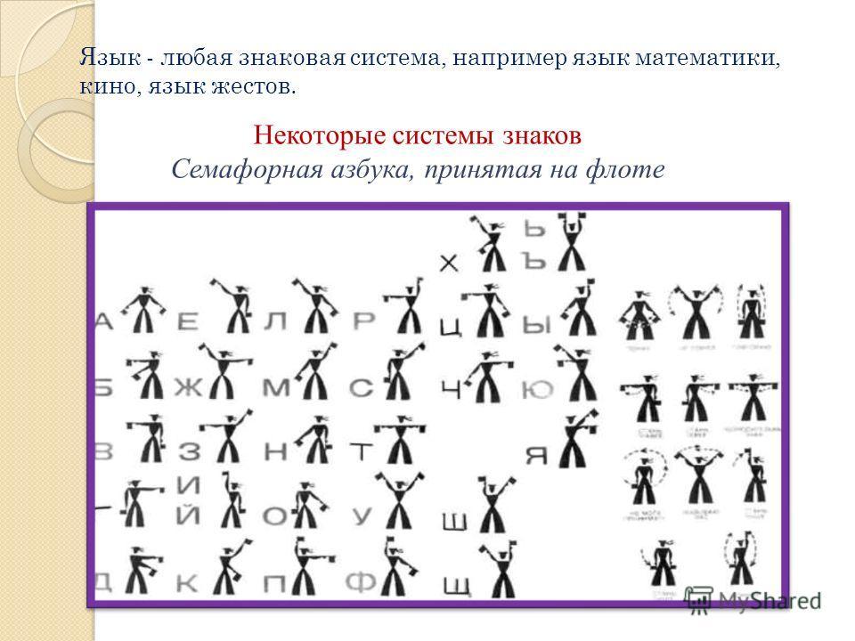 Язык - любая знаковая система, например язык математики, кино, язык жестов. Некоторые системы знаков Семафорная азбука, принятая на флоте