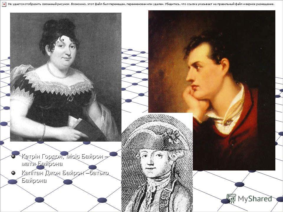 Кетрін Гордон, місіс Байрон – мати Байрона Капітан Джон Байрон –батько Байрона