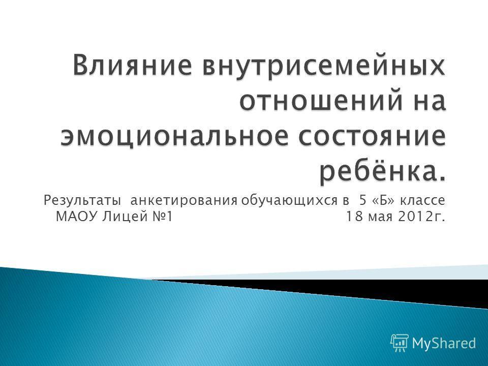 Результаты анкетирования обучающихся в 5 «Б» классе МАОУ Лицей 1 18 мая 2012г.