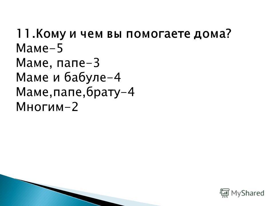 11.Кому и чем вы помогаете дома? Маме-5 Маме, папе-3 Маме и бабуле-4 Маме,папе,брату-4 Многим-2