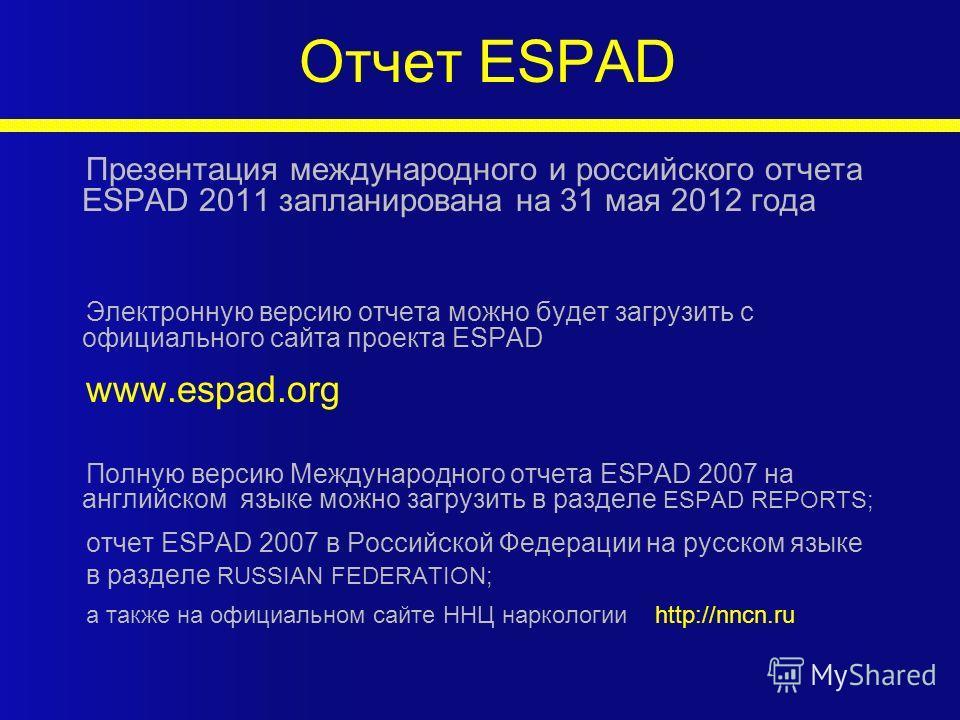 Отчет ESPAD Презентация международного и российского отчета ESPAD 2011 запланирована на 31 мая 2012 года Электронную версию отчета можно будет загрузить с официального сайта проекта ESPAD www.espad.org Полную версию Международного отчета ESPAD 2007 н