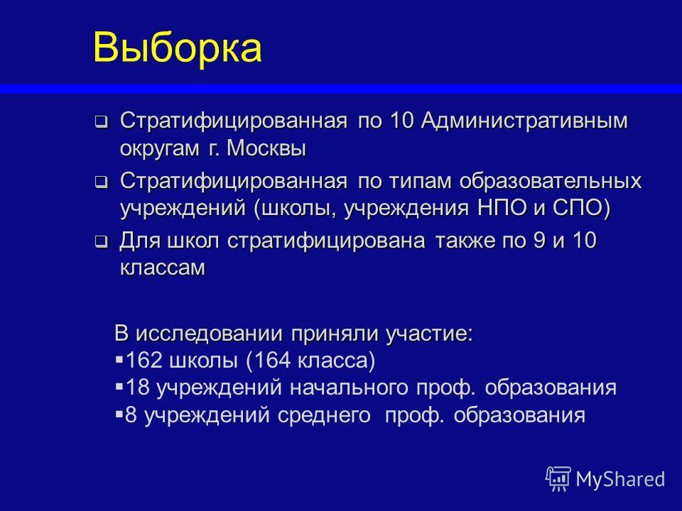 Стратифицированная по 10 Административным округам г. Москвы Стратифицированная по 10 Административным округам г. Москвы Стратифицированная по типам образовательных учреждений (школы, учреждения НПО и СПО) Стратифицированная по типам образовательных у