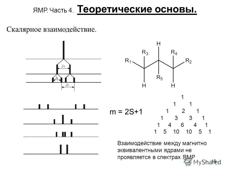 19 m = 2S+1 1 1 2 1 1 3 3 1 1 4 6 4 1 1 5 10 10 5 1 ЯМР. Часть 4. Теоретические основы. Скалярное взаимодействие. Взаимодействие между магнитно эквивалентными ядрами не проявляется в спектрах ЯМР