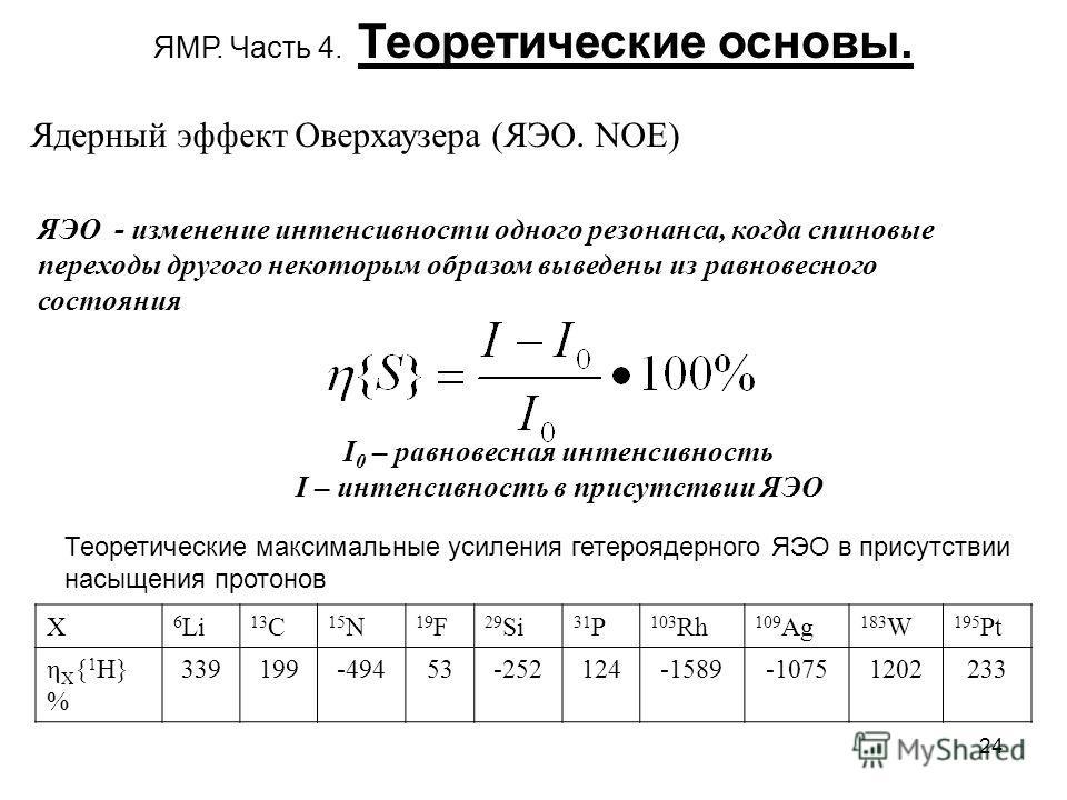 24 ЯМР. Часть 4. Теоретические основы. Ядерный эффект Оверхаузера (ЯЭО. NOE) ЯЭО - изменение интенсивности одного резонанса, когда спиновые переходы другого некоторым образом выведены из равновесного состояния I 0 – равновесная интенсивность I – инте