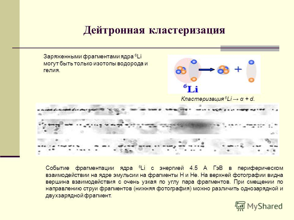 Дейтронная кластеризация Заряженными фрагментами ядра 6 Li могут быть только изотопы водорода и гелия. Кластеризация 6 Li α + d. Событие фрагментации ядра 6 Li c энергией 4.5 А ГэВ в периферическом взаимодействии на ядре эмульсии на фрагменты Н и Не.