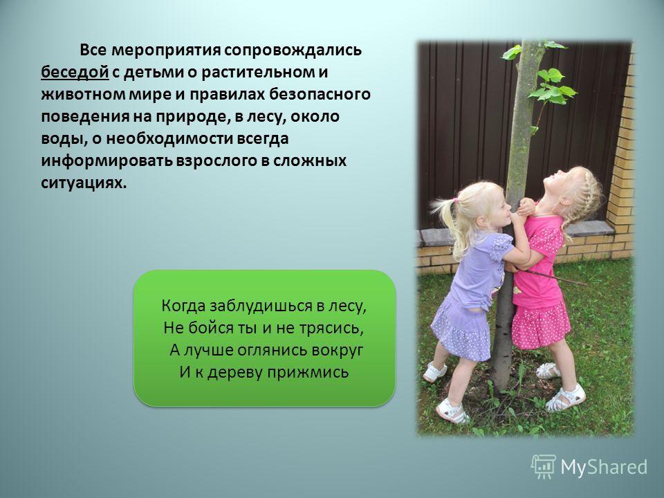 Все мероприятия сопровождались беседой с детьми о растительном и животном мире и правилах безопасного поведения на природе, в лесу, около воды, о необходимости всегда информировать взрослого в сложных ситуациях. Когда заблудишься в лесу, Не бойся ты