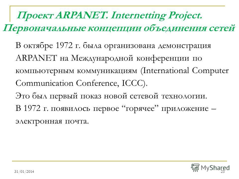 31/01/201425 В октябре 1972 г. была организована демонстрация ARPANET на Международной конференции по компьютерным коммуникациям (International Computer Communication Conference, ICCC). Это был первый показ новой сетевой технологии. В 1972 г. появило