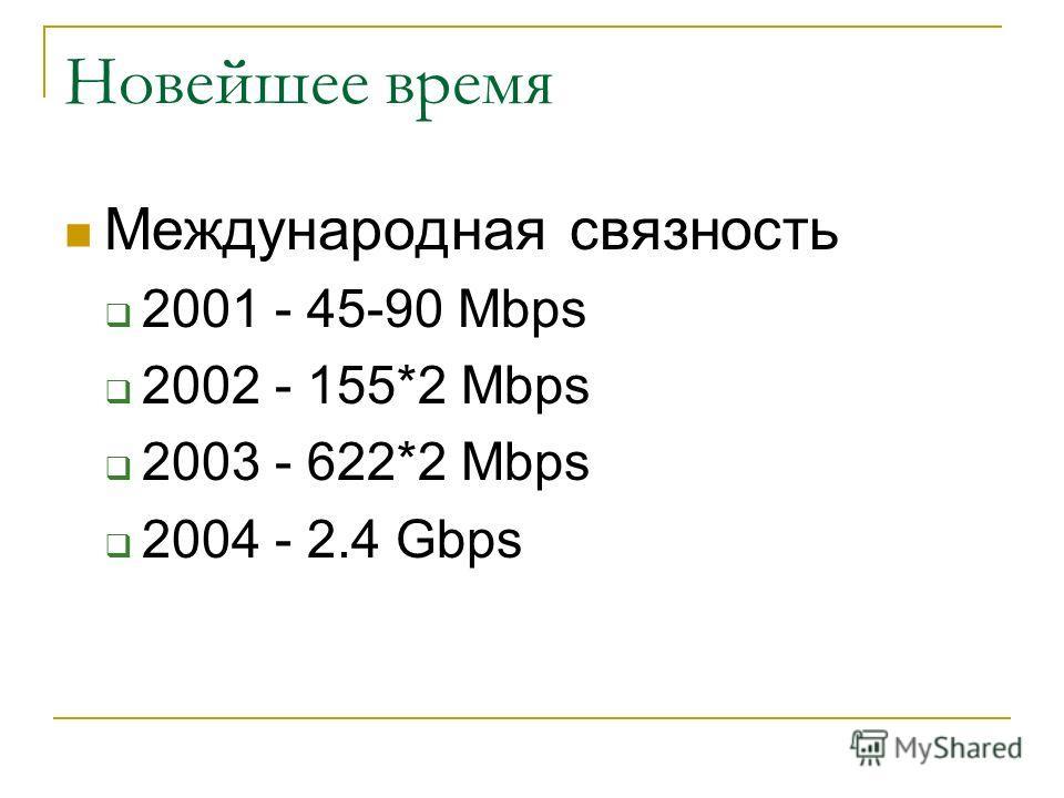 Новейшее время Международная связность 2001 - 45-90 Mbps 2002 - 155*2 Mbps 2003 - 622*2 Mbps 2004 - 2.4 Gbps