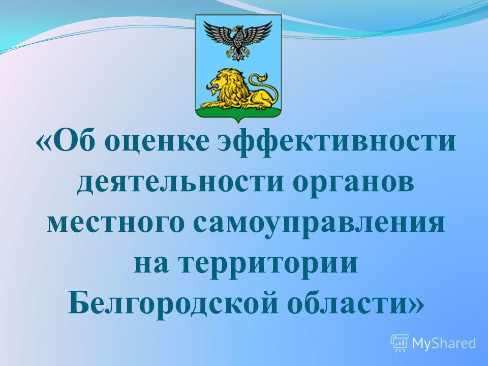 «Об оценке эффективности деятельности органов местного самоуправления на территории Белгородской области»