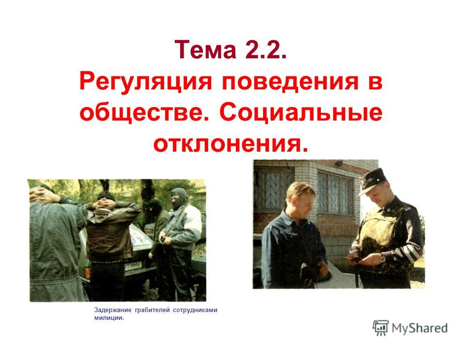 Тема 2.2. Регуляция поведения в обществе. Социальные отклонения. Задержание грабителей сотрудниками милиции.