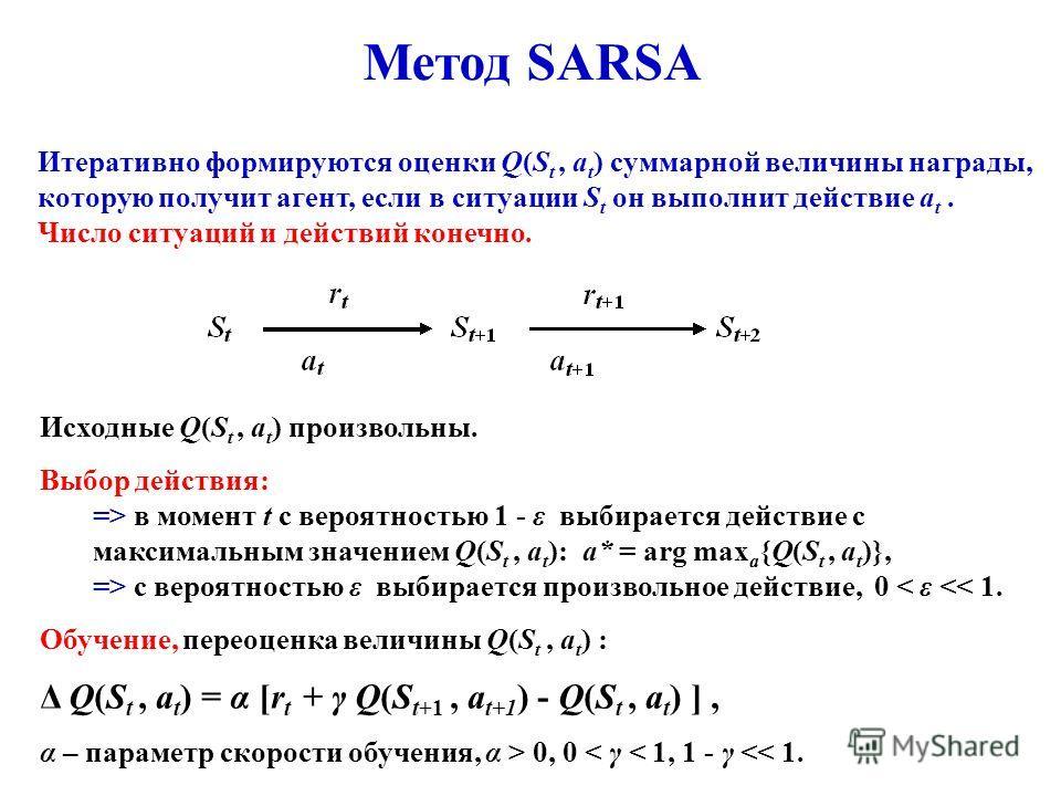 Итеративно формируются оценки Q(S t, a t ) суммарной величины награды, которую получит агент, если в ситуации S t он выполнит действие a t. Число ситуаций и действий конечно. Исходные Q(S t, a t ) произвольны. Выбор действия: => в момент t с вероятно