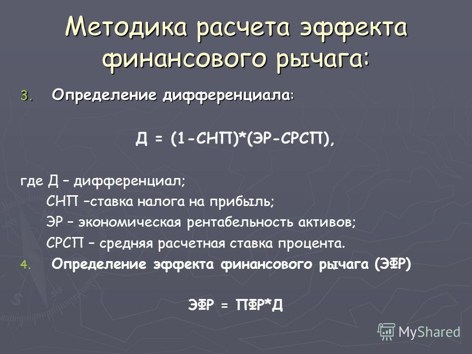 Методика расчета эффекта финансового рычага: 3. Определение дифференциала : Д = (1-СНП)*(ЭР-СРСП), где Д – дифференциал; СНП –ставка налога на прибыль; ЭР – экономическая рентабельность активов; СРСП – средняя расчетная ставка процента. 4. 4. Определ