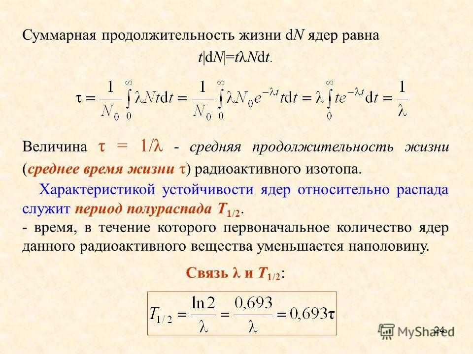 24 Суммарная продолжительность жизни dN ядер равна t|dN|=tλNdt. Величина τ = 1/λ - средняя продолжительность жизни (среднее время жизни τ) радиоактивного изотопа. Характеристикой устойчивости ядер относительно распада служит период полураспада Т 1/2.