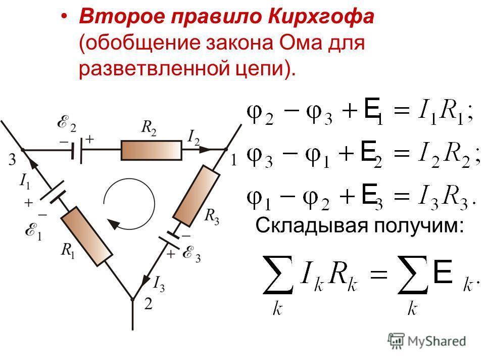 Второе правило Кирхгофа (обобщение закона Ома для разветвленной цепи). Складывая получим:
