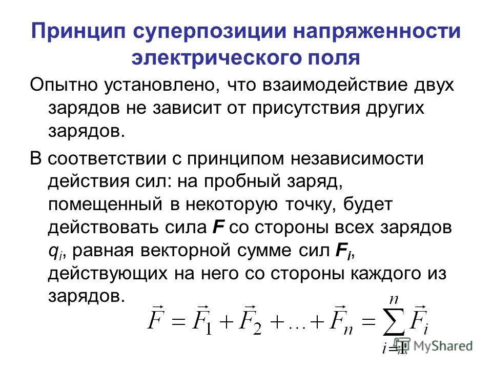 Принцип суперпозиции напряженности электрического поля Опытно установлено, что взаимодействие двух зарядов не зависит от присутствия других зарядов. В соответствии с принципом независимости действия сил: на пробный заряд, помещенный в некоторую точку