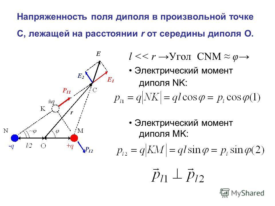 Напряженность поля диполя в произвольной точке С, лежащей на расстоянии r от середины диполя О. l