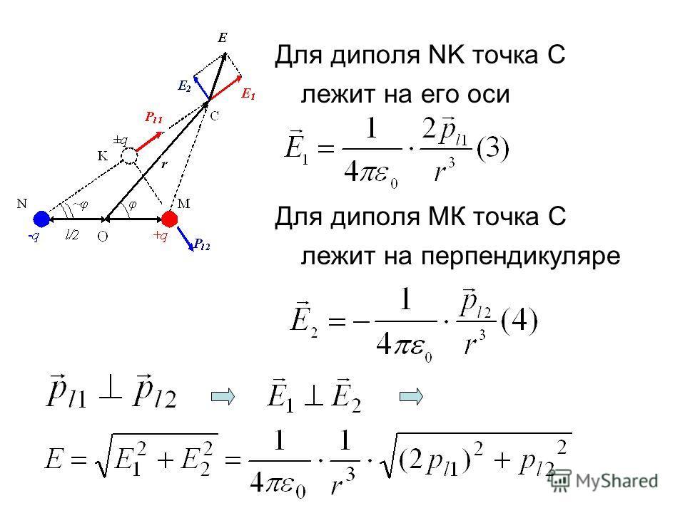 Для диполя NK точка С лежит на его оси Для диполя МК точка С лежит на перпендикуляре