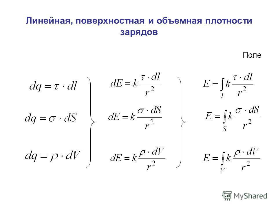 Линейная, поверхностная и объемная плотности зарядов Поле