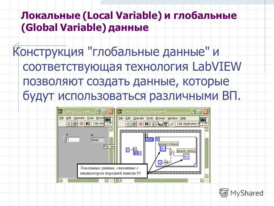 Локальные (Local Variable) и глобальные (Global Variable) данные Конструкция глобальные данные и соответствующая технология LabVIEW позволяют создать данные, которые будут использоваться различными ВП.